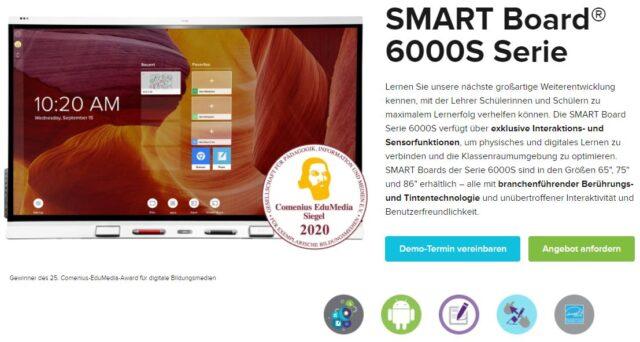 """SMART Board Displays der 6000S Serie mit """"Comedius EduMedia Siegel"""" ausgezeichnet"""
